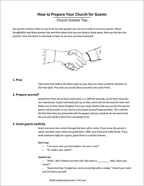 church greeter tips handout sheet
